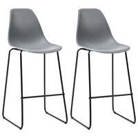 vidaXL Barski stoli 2 kosa siva plastika