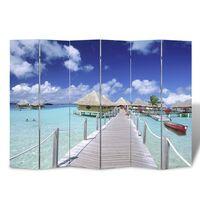 vidaXL Zložljiv paravan 240x170 cm plaža
