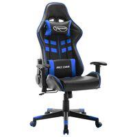 vidaXL Gaming stol črno in modro umetno usnje