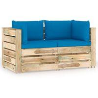 vidaXL Vrtni kavč dvosed z blazinami zelen impregniran les