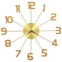 vidaXL Stenska ura kovinska 50 cm zlata