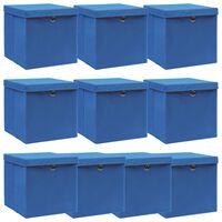 vidaXL Škatle za shranjevanje s pokrovi x 10 modre 32x32x32 cm blago