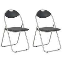 vidaXL Zložljivi jedilni stoli 2 kosa črno umetno usnje