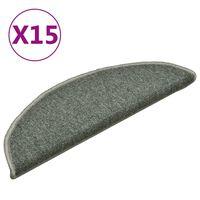 vidaXL Preproge za stopnice 15 kosov temno zelene 56x17x3 cm