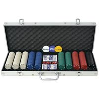 vidaXL Poker Set s 500 Žetoni Aluminij
