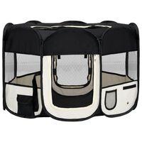 vidaXL Zložljiva pasja ograjica s torbo črna 110x110x58 cm