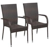 vidaXL Zunanji stoli 2 kosa poli ratan rjave barve