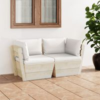 vidaXL Vrtni kavč dvosed iz palet z blazinami smrekovina