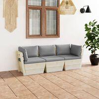 vidaXL Vrtni kavč trosed iz palet z blazinami smrekovina