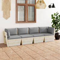 vidaXL Vrtni kavč štirised iz palet z blazinami smrekovina