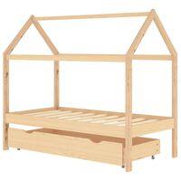 vidaXL Otroški posteljni okvir s predalom trdna borovina 80x160 cm