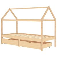 vidaXL Otroški posteljni okvir s predali trdna borovina 90x200 cm